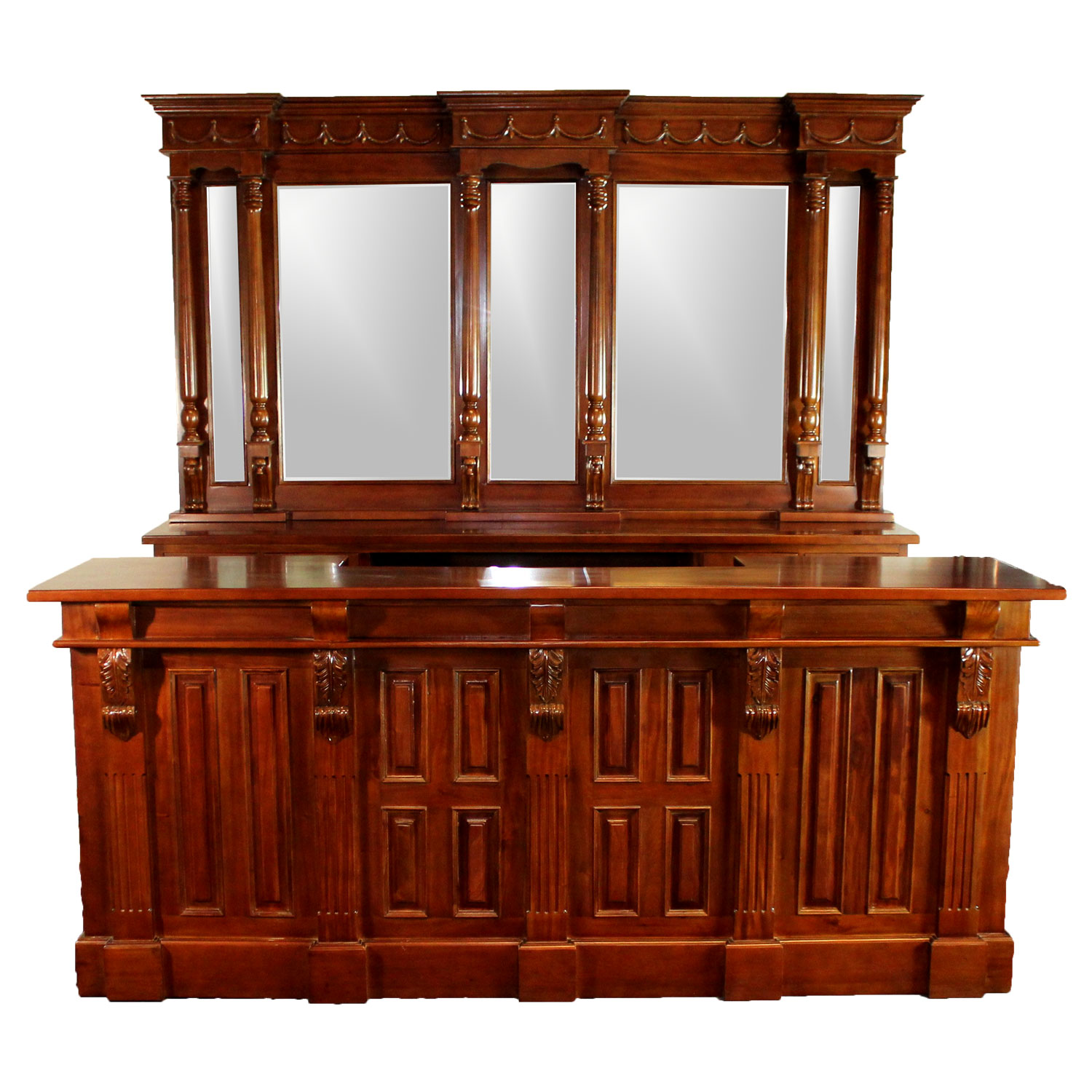 Home Bars For Sale: 8 Ft Front & Back Home Bar Antique Replica Mahogany Wine