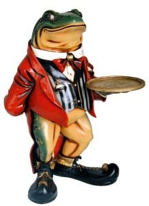 2′ Frog Tuxedo Waiter Statue w/ Serving Display with Tray Old Mr. Toad Butler