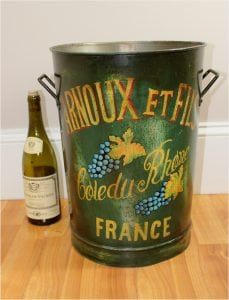French Wine Grape Bucket Trash Can, Storage, Flowers Arnoux et Fils Rhone Antique Style