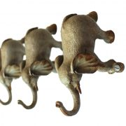 Elephant Wall or Robe Hooks Pewter With Painted Vintage Gray Color Lovely Hardware