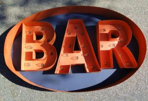 Metal BAR LIGHTED SIGN Old Fashioned Retro Tin Painted Pub Tavern BIG FUN