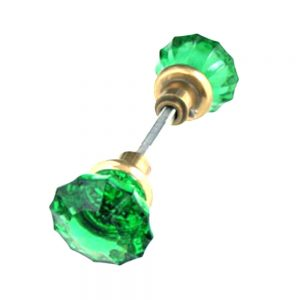 Door Knob GREEN Glass w Brass Ferrell (Pair) Vintage Style New Replica Hardware