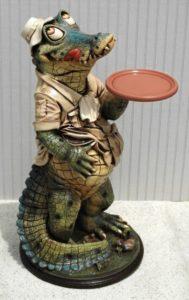 Alligator Butler Waiter Statue 2ft Tall Restaurant of Kitchen Crocodile Swamp People Style