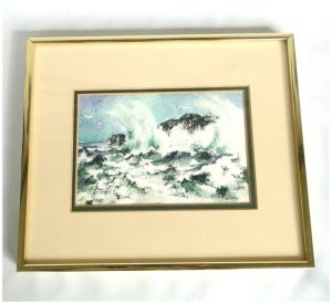 Rocks and Ocean with Waves and Seagulls Watercolor Painting Signed Oates