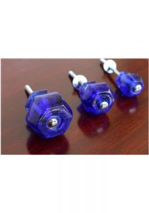 1″ Cobalt BLUE Glass Cabinet Knobs Pulls Vintage Dresser Drawer Hardware 25 pcs