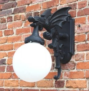 Gargoyle Dragon Wing Outdoor Sconce Wall Light Fixture Antique Vintage Style