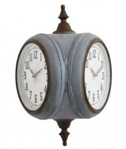 Two Sided Commercial Looking Wall Clock Like old Bank Buildings Just Smaller