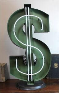 Lighted Dollar Sign on Stand Florescent Money Cash Collection Home Goods Idea