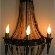 Gothic Gun Metal Steel with Hemp Rope Antique Replica Wall Sconce Light Fixture