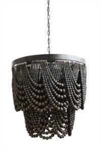 Huge Black Wooden Beaded Stunning Chandelier High Design Drapery Feel
