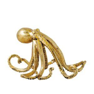 Gold Leaf Octopus Art Sculpture Statue Fun Nautical Decor Beach Ocean Style