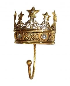 Gold Leaf King Queen Jewels Wall Hook Crown Hand Finished