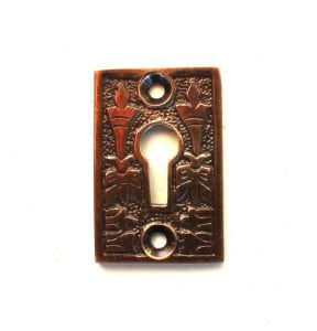 Victorian Style Rectangular Cast Brass Key Hole Cabinet & Door Hardware Aged Darkened