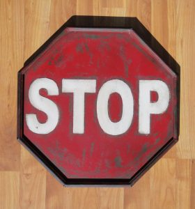 Antique Retro Stop Sign Metal Tin Construction – Replica – Small Painted