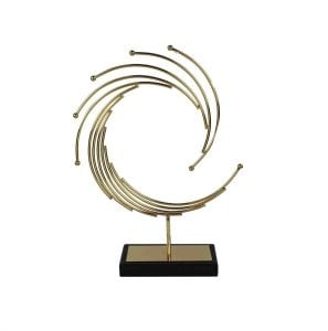 Spiral Marble and Rose Gold Table Top Sculpture Modern Art Statue