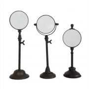 Standing Magnify Glass Set of Three Pedestals Adjustable Height Iron Old Style