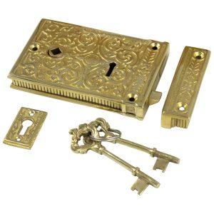 Vintage Solid Brass Victorian Rim Lock – Old fashioned Replica Restoration Hardware