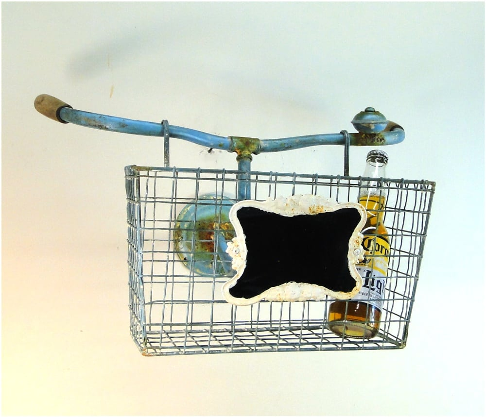 bicycle iron bike shaped wall d cor basket with chalk sign vintage
