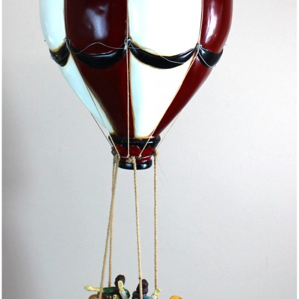 Tall Hanging Balloon w People and Wicker Basket Gondola 28″ Old Vintage Replica