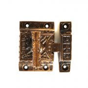 Victorian Square Surface Latch with T Shaped Handle Spring Catch Aged Bronze