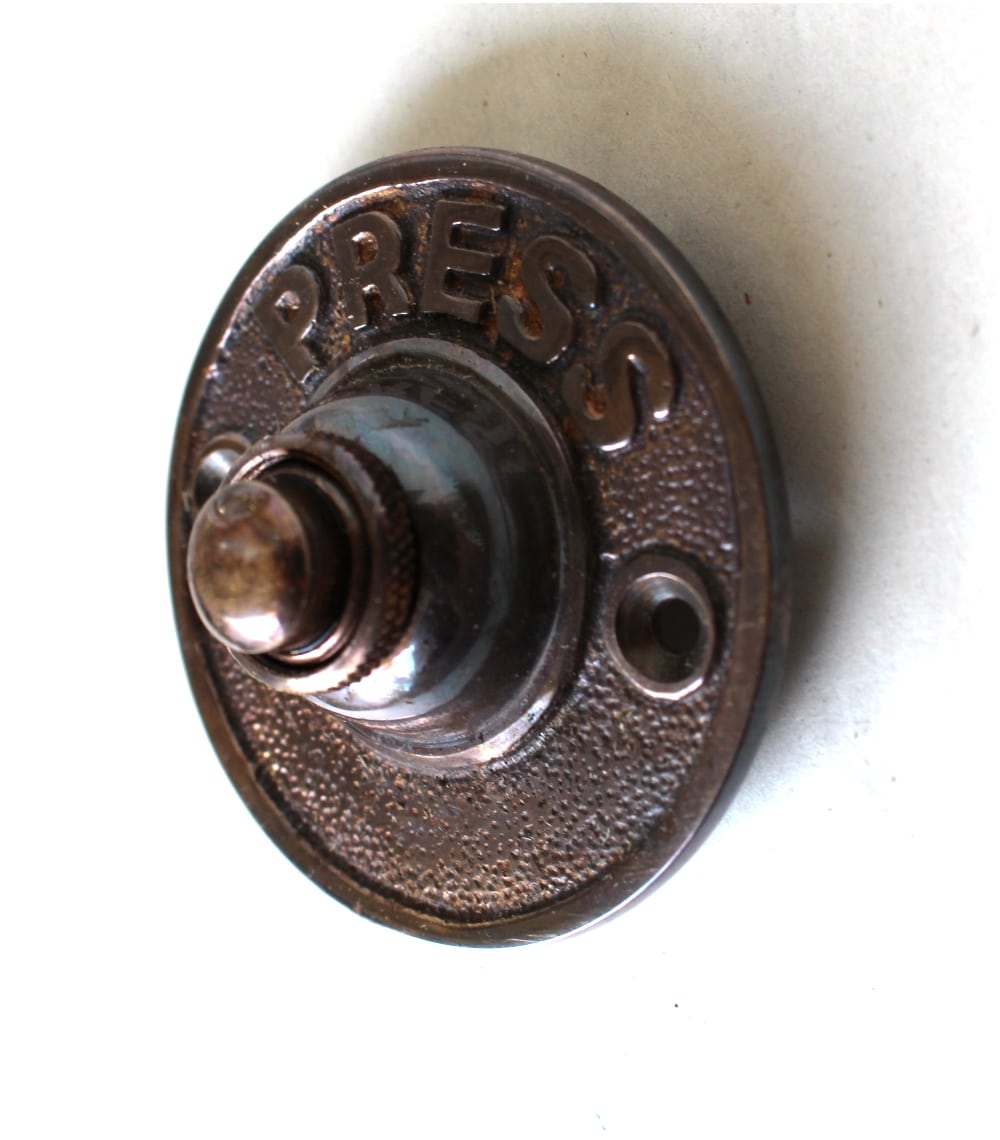 PRESS Solid Brass Old Antique Style Round Retro Door Bell Push Button w  Bronze Finish - PRESS Solid Brass Old Antique Style Round Retro Door Bell Push