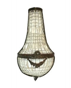 French Crystal Antique Replica Wall Sconce Light Fixture Chateau Mansion 27″