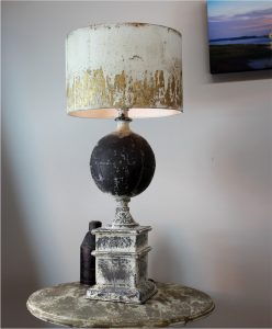 French Country Shabby Chic Table Lamp with Aged Gold Leaf Shade – The Kings Bay