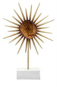 Stunning Contemporary Danish Modern Metal Flower Sculpture On Stand Copper