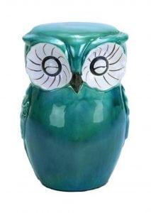 Ceramic Garden Owl Stool, Cute Garden or Home Decor, Seating for Indoors or Outdoors