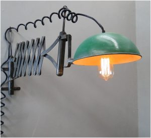 Industrial Factory Accordian Wall Light Fixture with Iron Dome, Vintage Replica, Hand Made