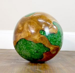 Teak Wood & Green Resin Plastic Lucite Round 20lb Ball Rare Accent -The Kings Bay