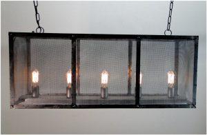 Rectangular Screen Iron Chandelier Hand Made Ceiling Fixture Antique Style