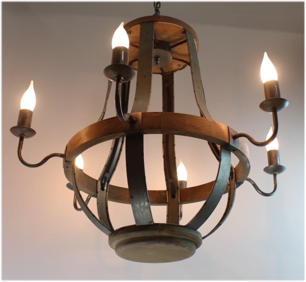 Iron Strap And Aged Wood Chandelier French Country Farm