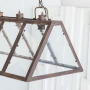 Large Greenhouse Chandelier Kitchen Pool Table Over Counter Light Fixture Iron & Glass