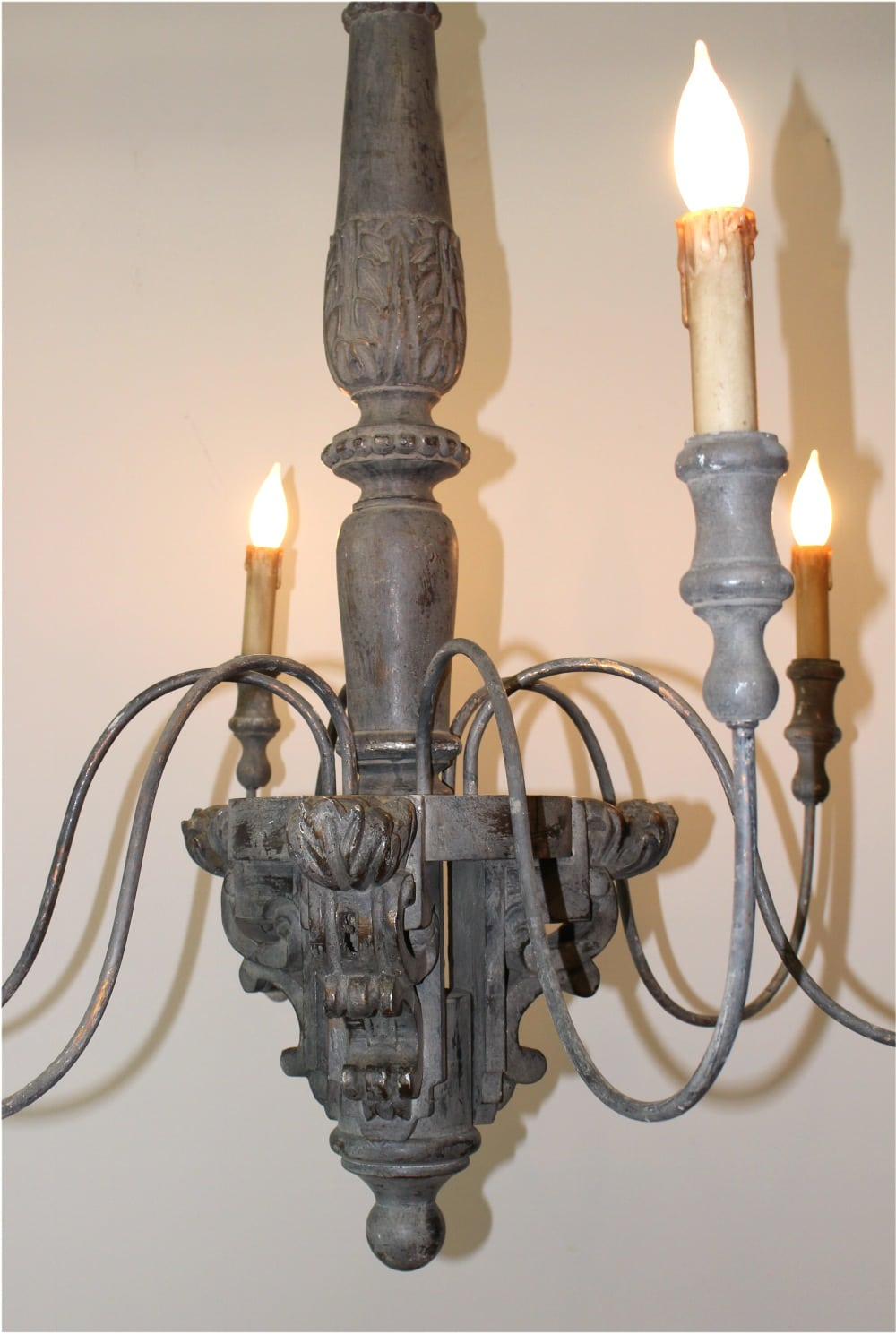 Aged Old Fashioned Wood And Metal Chandelier Light Fixture W 6 Arms Big The Kings Bay