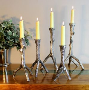 Rustic Lodge Country Set of 5 Candlesticks Twig Branch Design Shiny Silver