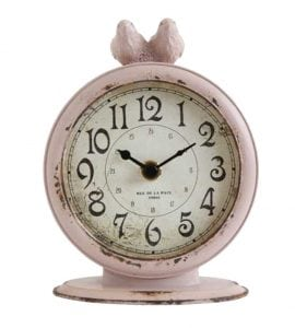 Pewter Desk Top Clock with Birds Aged Pink Finish Accurate Quartz Works