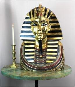 Life Size Tutankhamun Bust Silver & Gold – King Tut Wall 2′ Sculpture BEST PRICE