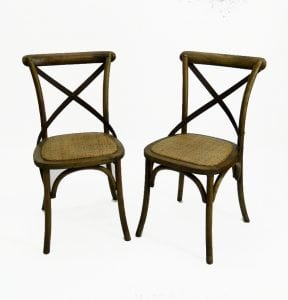 Old Vintage Style Wood Iron and Rattan Cane Seat CHAIR PAIRS Antique Style