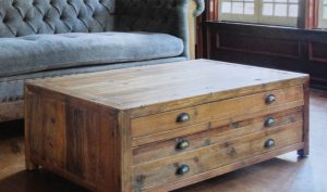 Reclaimed Pine Chesterfield Coffee Table with Vintage Bin Pulls