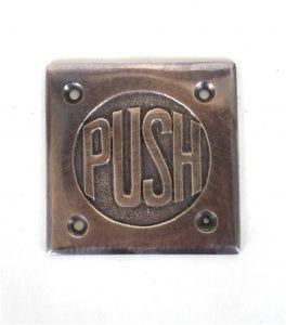 Small PUSH Door Plate in Dark Bronze Finish Vintage Style Old Fashioned Lettering
