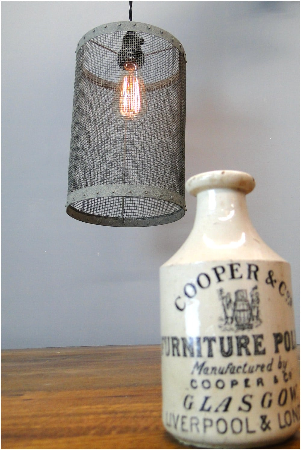 Mesh Wire Barrel Pendant Light Fixture Aged Galvanized Look Old Wiring A New To Fashioned Style Round The Kings Bay