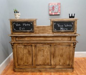Antique FRENCH STORE COUNTER, Old Restaurant Desk, Reception Desk, Cottage Chic Shabby