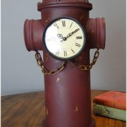 Aged Antique Style Red Double Face Fire Hydrant Clock Tin Metal