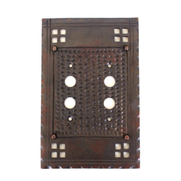 Arts and Crafts Aged Bronzed Brass Double Two Gang Push Button Switch Plate