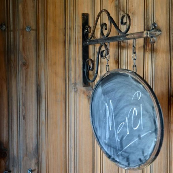 Oval Hanging Chalk Board Sign on Wrought Iron Bracket Vintage Old Style