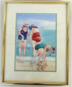 Lynn Greer Shell Seeking Watercolor Painting Print, Hand Signed By Artist