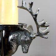 Silver Elk Reindeer Pillar Candle Holder Polished Aluminum