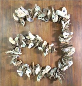 Oyster Shell and Driftwood Stick 6′ Garland Hanging Nautical Hand Made