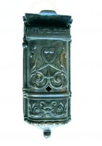 Victorian Motif MAIL BOX mailbox vintage TIFFANY AGED Solid Brass Heavy front door hardware